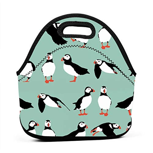 Fashion.Reborn Neoprene Lunch Tote Insulated Reusable Picnic Lunch Bags Boxes for Men Women Children Kid Adults Toddler Nurses - Penguin Mint Green