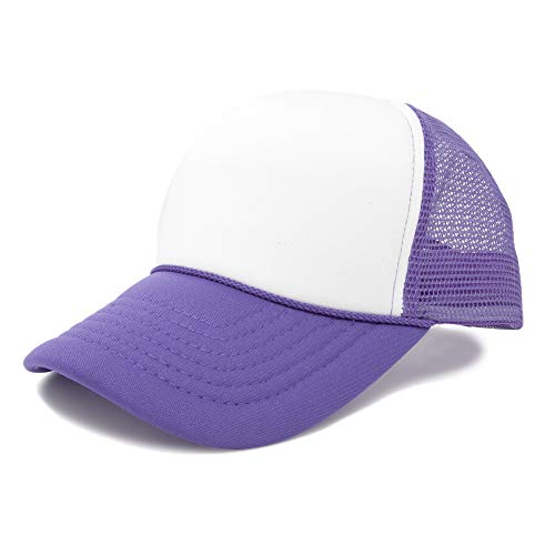 Adjustable Mesh Trucker Cap (DALIX Childrens Trucker Caps Youth Hats Mesh Back Adjustable Purple and White)