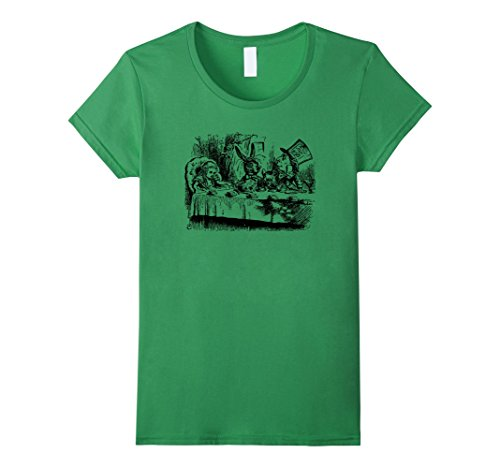 [Big Texas Alice in Wonderland Mad Hatters Tea Party T-Shirt - Female Large - Grass] (Female Mad Hatter)