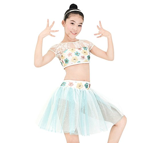 Gold Lyrical Dance Costumes (MiDee Girl 2 Pieces Floral Lace Sequin Lyrical Dance Dress Belly Costume (IC, Multi Color))