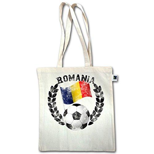 Calcio - Bandiera Romania E Calcio Vintage - Unisize - Natural - Xt600 - Manico Lungo Borsa Juta