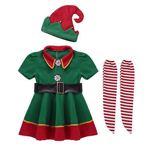 FEESHOW Children Little Girls Christmas Santa's Elf Outfit Festive Suit Copslay Party Fancy Dress up Costume Set Green&Red 4-5 -