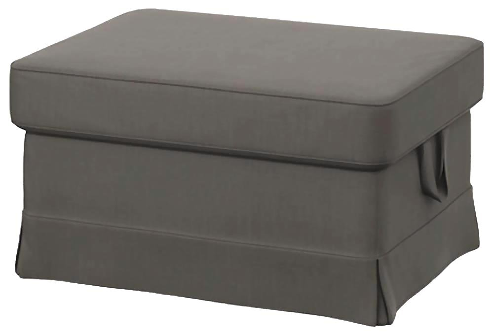 Easy Fit The Heavy Cotton Ektorp Ottoman Cover Replacement is Custom Made for Ikea Ektorp Footstool Or Stool Slipcover (Dense Cotton Dark Gray)