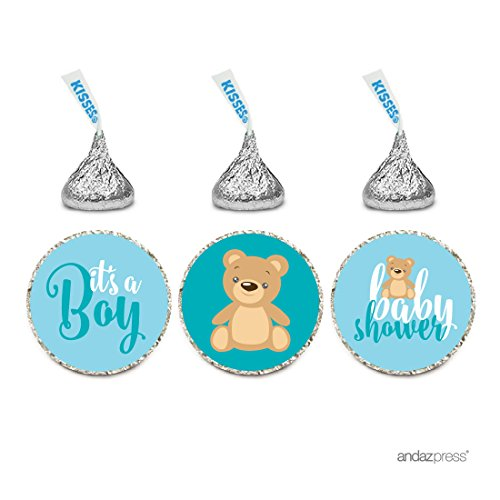 Andaz Press Chocolate Drop Labels Trio, Boy Baby Shower, Baby Blue Teddy Bear, 216-Pack, Fits Hershey's Kisses Party Favors, Decor, Decorations