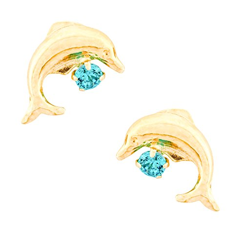 14K Yellow Gold Dolphin Stud Kids Earrings With Safety Screw Backs (December-Blue - Topaz Blue Screw