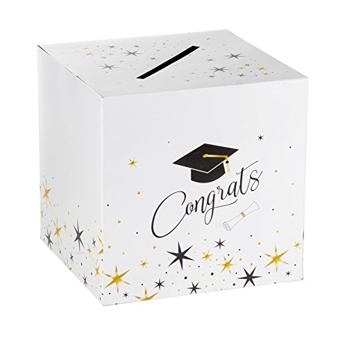 Graduation Box – Greeting Card Holder Box, Paper Greeting Card Box Ideal for Grad Party, Party Favors, 12 x 12 x 12 -