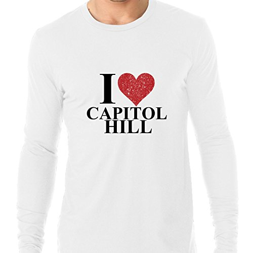 I Love Capitol Hill Red Heart Washington DC Men's Long Sleeve - Spring Mall Hills