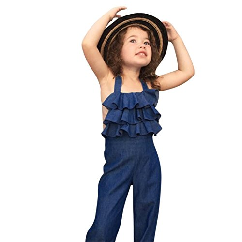 DORIC Toddler Girls Sleeveless Backless Denim Jumpsuits