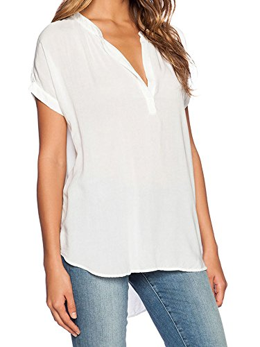 Maniche Chiffon V Bianco neck Elevesee Party Spiaggia Donna Tops Lunghe Camicia Camicetta Shirt wgtZwI