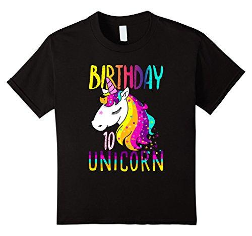 Kids Girls 10th Birthday Shirt Fancy Prancy Unicorn 10 Yr Gift Black