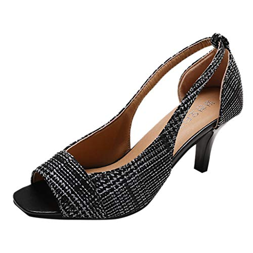 - 2019 JJLIKER Womens Glitter Open Toe Pumps Sandals Cutout Slip-On Stilettos Heel Fashion Summer Dress Shoes