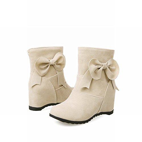 Mee Shoes Damen süß mit Schleife hidden heels Stiefel Beige
