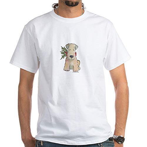 CafePress Wheaten Terrier with Holly White T Shirt 100% Cotton T-Shirt, White