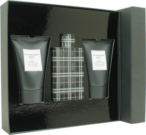 efad7e56c99 Burberry Brit for Men Gift Set - 100 ml EDT Spray + 100 ml Aftershave Balm  + 100 ml Shower Gel  Amazon.co.uk  Beauty