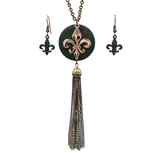 Gypsy Jewels Long Tassel Fleur De Lis Simple Chain Necklace & Dangle Earring Set (Patina Green & Copper Tone) (De Fleur Earrings Lis Designer)