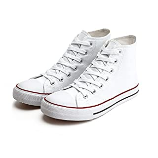 ZGR Womens Fashion Canvas Sneaker Low Cut Lace ups Casual Shoes (8 B(M) US, High-Top White)