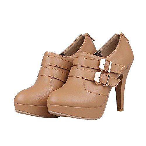 Carolbar Women's Modern Western High Heel Buckle Platform Ankle Boots apricot UQhL1u16o