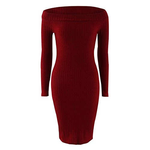 Paquet Chandail Robe Cocktail Reaso Dames Mode Vin Femmes Pull Rouge Pencil Slim Hip TaSxqa0