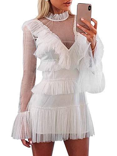 - Simplee Women's Elegant Long Sleeve Tiered Dress Tulle Mesh Ruffle Short Mini Party Dress White 8