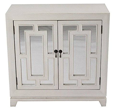 (Heather Ann Creations Modern 2 Door Accent Wooden Cabinet with Hand Cut Grille and Mirror Backing Off)