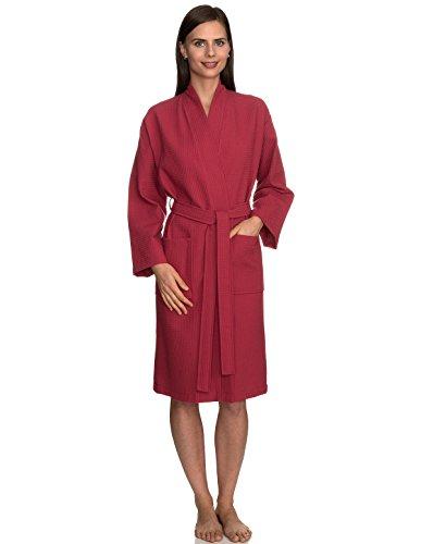 Waffle Ladies - TowelSelections Women's Robe, Kimono Waffle Spa Bathrobe Large/X-Large Holly Berry