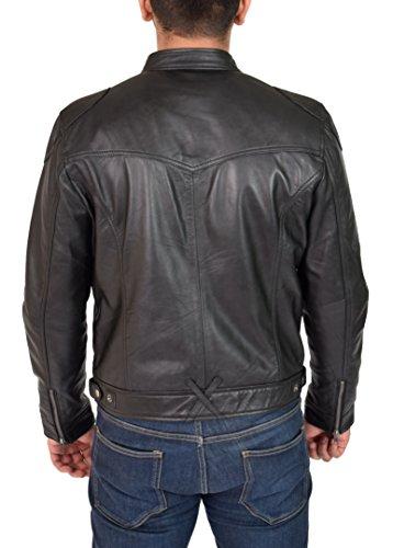 Giacca Di large Pelle Cerniera Attrezzato Casuale Style Da Nero Milton Motociclista Racing Uomo d5HRqBF57w
