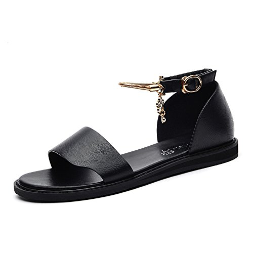 With Base Female The Students And Summer HGTYU Shoes Comfort Mei Retro Soft Sandals Flat Black 5Xqw5HF