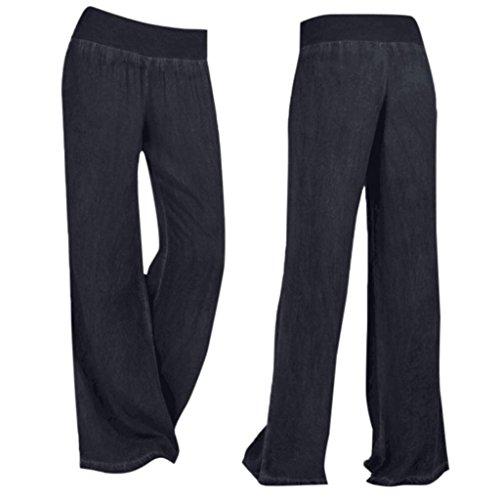Pantalones Mujer,Pantalones Palazzo de pierna ancha de mezclilla casual de alta cintura para mujer Pantalones vaqueros LMMVP Negro