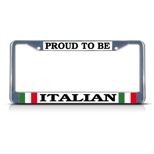 PROUD ITALIAN ITALY Chrome Heavy Duty Metal License Plate Frame by Fastasticdeals