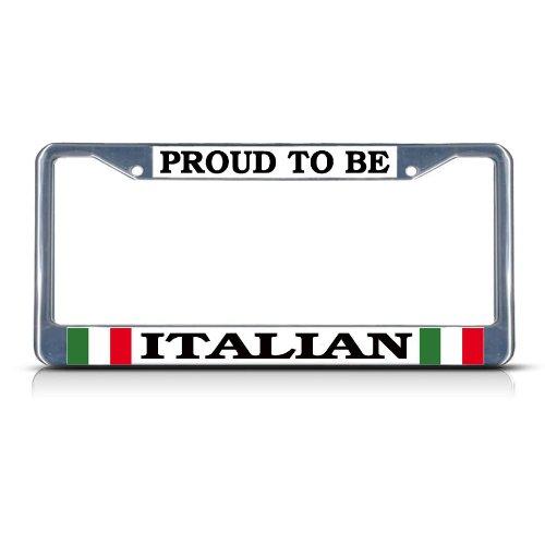 PROUD ITALIAN ITALY Chrome Heavy Duty Metal License Plate Frame