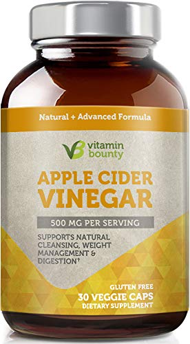 Organic Apple Cider Vinegar Capsules - by Vitamin Bounty - 500mg Made in USA ()