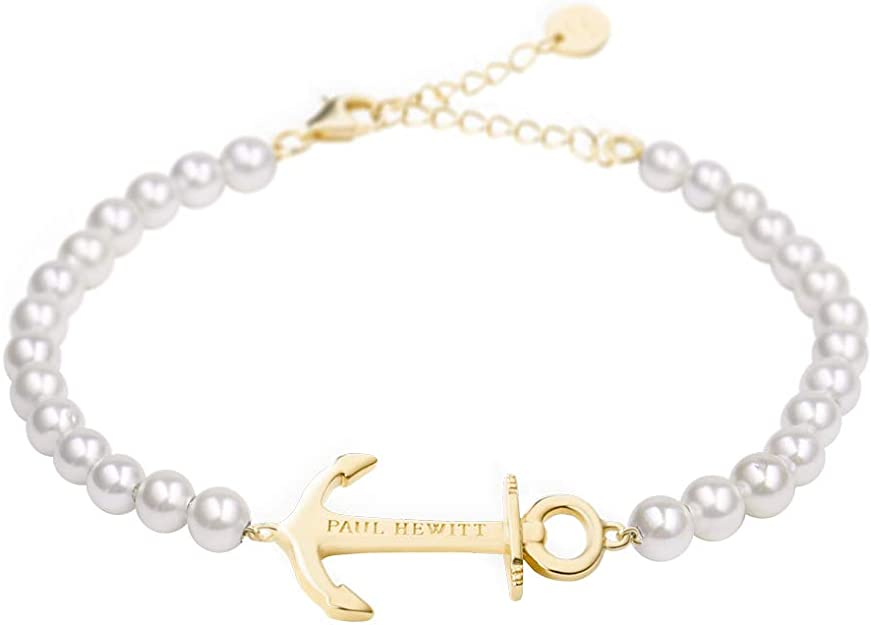 Paul Hewitt Anchor Spirit Brazalete de Perlas - Pulsera de Mujer de Acero Inoxidable con Ancla Dorada, Pulsera para señoras: Amazon.es: Joyería