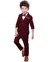 Boys 3Pcs Modern Fit Suit Solid Dress Suit Jacket Vest Pants 3T-10