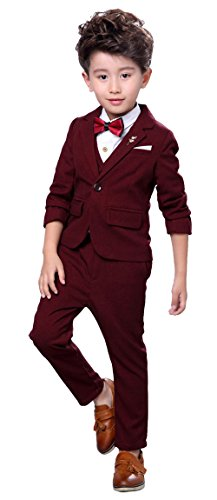 Boys Modern Fit Dress Suit Set Plaid Prom Casual Suits For Wedding Party Shows with Jacket Vest Pants Tux Red Wine 10