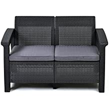 Keter Corfu Love Seat All Weather Outdoor Patio Garden Furniture w/ Cushions, Charcoal