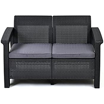 This Item Keter Corfu Love Seat All Weather Outdoor Patio Garden Furniture  W/ Cushions, Charcoal