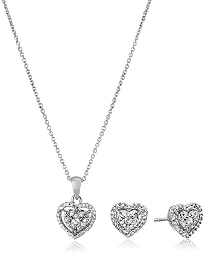 a603ec2a123 Sterling Silver Diamond Heart Pendant Necklace and Earrings Box Set (1 2  cttw)