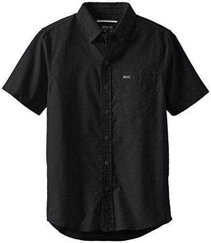 RVCA Big Boys' That'Ll Do Oxford Short Sleeve Shirt, Pirate Black, M (Pirate Clothing For Sale)