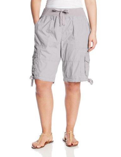 Calvin Klein Performance Women's Plus-Size Rib Waist 12 Inch Bermuda Cargo Short, Zinc, 2X