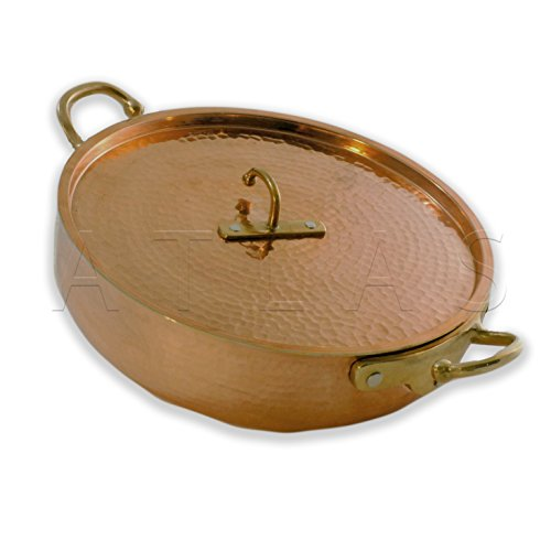 "Atlas Soy Turkiye Hammered Thick Copper Silver Lined Rondeau Pot / Pan (11"" / 28 cm with Lid)"