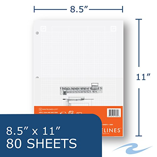 Case of 24 Whitelines App Engineering Computational Pads, 8.5''x11'', Grey Grid White Paper, 80 sheets, 3 Hole punch, Enclosed Grid printing by WhiteLines (Image #2)