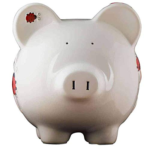 Red Ladybug Girls Piggy Bank - Large - (Personalized & Custom With Name And Year) (First Financial Toy For Teaching Boys & Girls About Saving Money) (Perfect Unique Gift Idea For Babys 1st Birthday)