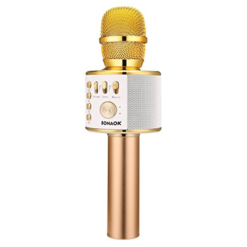 BONAOK Wireless Bluetooth Karaoke Microphone,3-in-1 Portable Handheld karaoke Mic Thanksgiving Gift Home Party Birthday Speaker Machine for iPhone/Android/iPad/Sony, PC and All Smartphone(Gold)