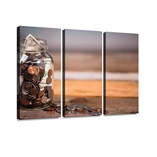 (BELISIIS Money jar with U.S. Currency. Savings, Donations Concepts. Wall Artwork Exclusive Photography Vintage Abstract Paintings Print on Canvas Home Decor Wall Art 3 Panels Framed Ready to Hang)
