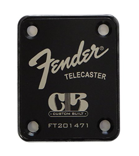 Fender Telecaster Neck Plate with Custom Built logo - Black