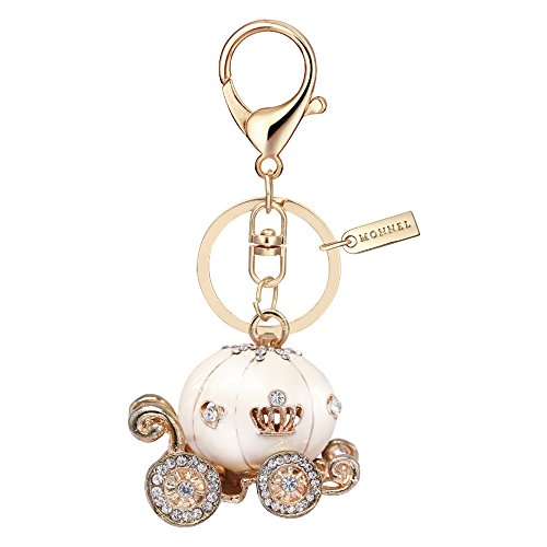 Bling White Princess Pumpkin Carriage Keychain with Pouch Bag MZ881-2 -