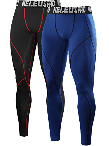 Neleus Men's 2 Pack Compression Pants Workout Running Tights Leggings,6013,Black (Red Stripe),Blue,US M,EU L (Leggings Tights Red)