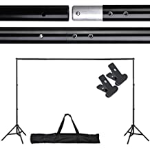 Professional 10' L x 6½' H Portable Photography Telescopic Background Backdrop Stand Kit w/ Crossbars Tripod Stands Black Carry Case Clamps Adjustable Pole Bar for Photo Studio Support System