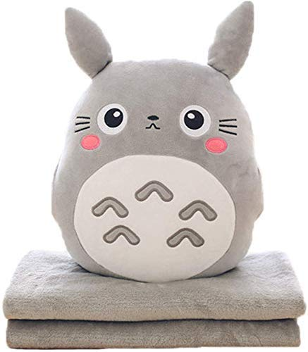 3 en 1 Almohada Linda Manta Totoro Muñeca de Peluche Anime ...