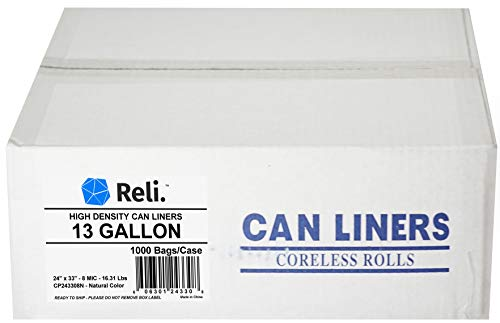 Reli. Trash Bags, 13 Gallon (Wholesale 1000 Count) - Star Seal High Density Rolls (Clear) - Bulk Tall Kitchen Can Liners, Recycling Garbage Bags - 13, 14, 15, 16 Gallon